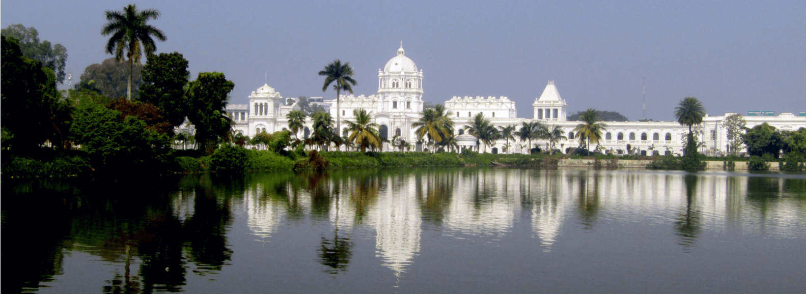 Tripura government museum with view of lake & trees is located in Agartala