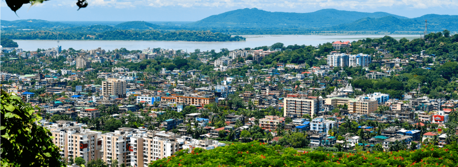 Landscape view of Guwahati city from height shows the beauty of the city