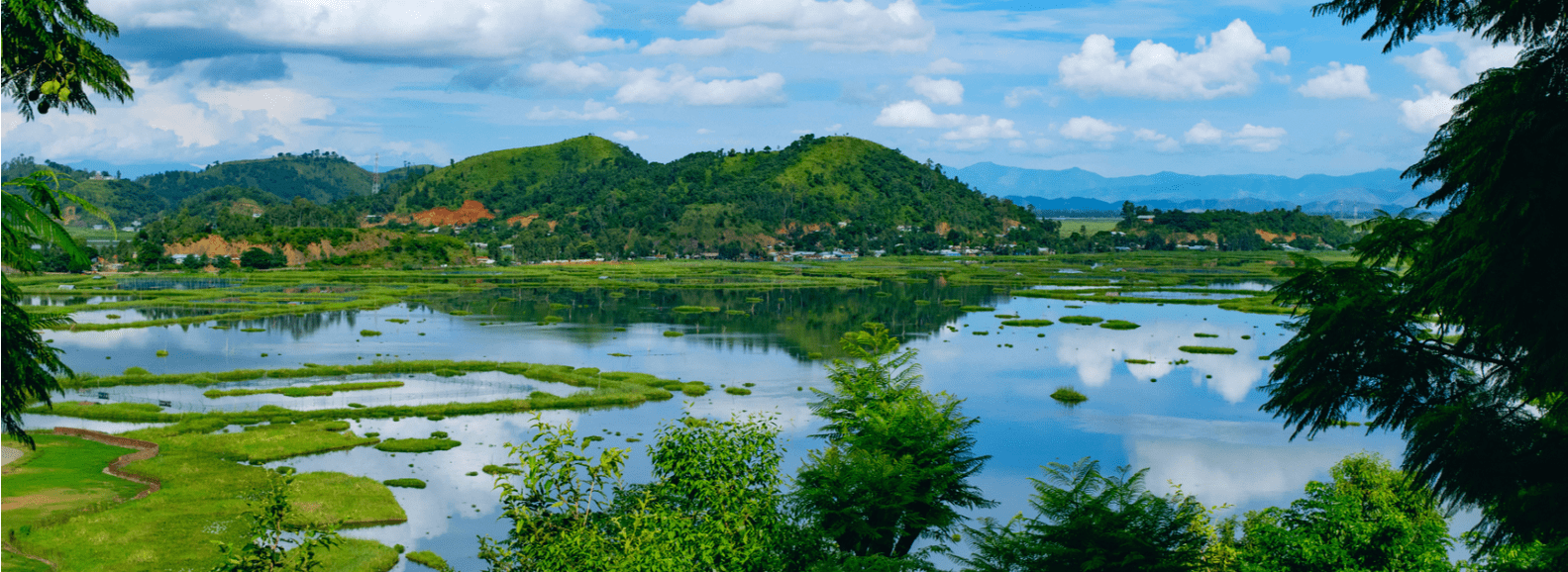 Beautiful natural lake view in Imphal city