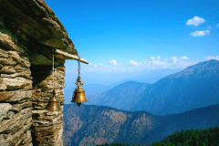 Brass bells hanging in temple in Chopta valley is famous for trek to Tungnath