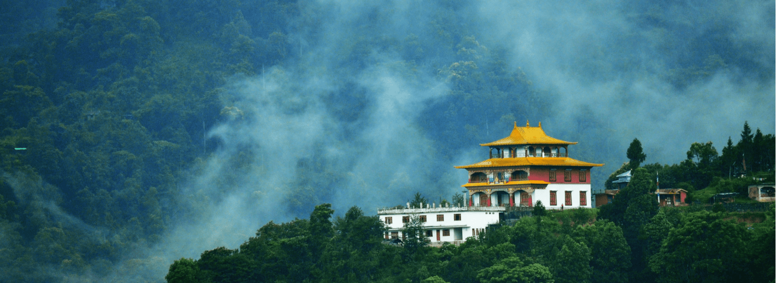 Beautiful early morning view of buddhist monastery in Gangtok
