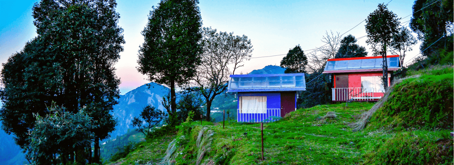 Green hills of Kanatal with Kanatal cottage view is a tourist place in Uttarakhand