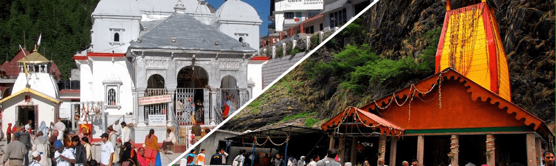 Yamunotri temple and Gangotri temple visited by devotees on Do Dham Yatra in Uttarakhand